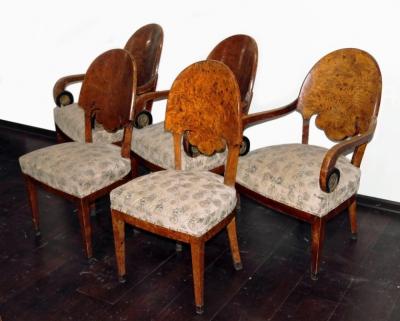 Кресла и стулья стиле ампир из капа тополя