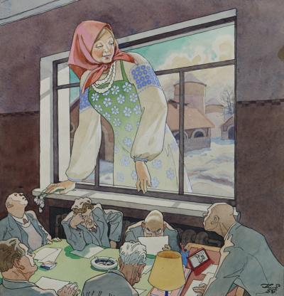 Акварель Весна. Карикатура для журнала Крокодил