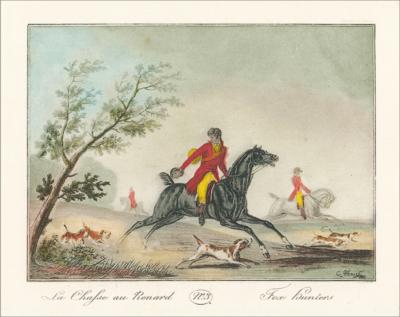 Цветная гравюра Охота на лис