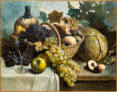 Картина Натюрморт с корзиной фруктов и вином