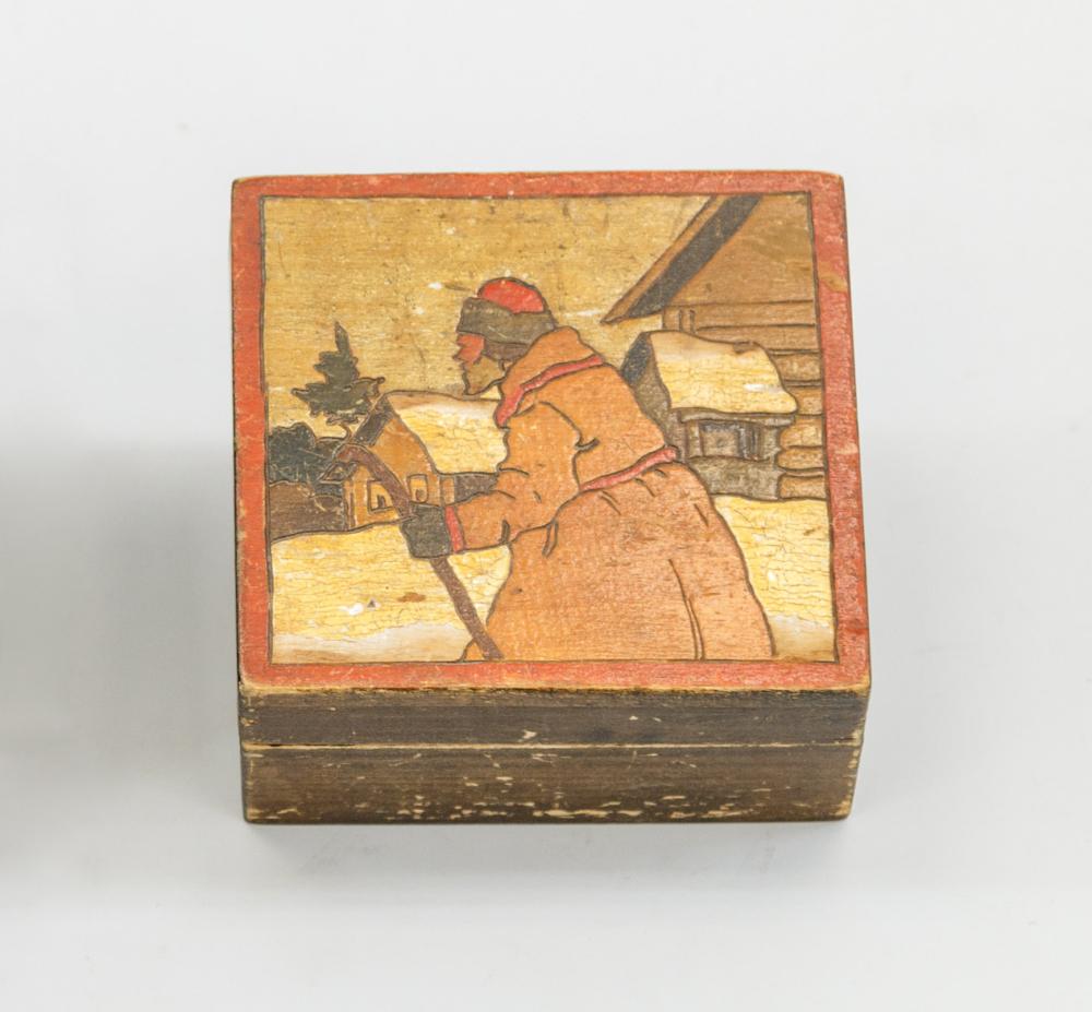 Шкатулка «Крестьянин с посохом» в неорусском стиле