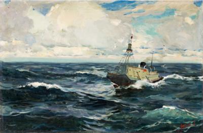 Морской пейзаж с рыболовецким судном Постнов А.И.
