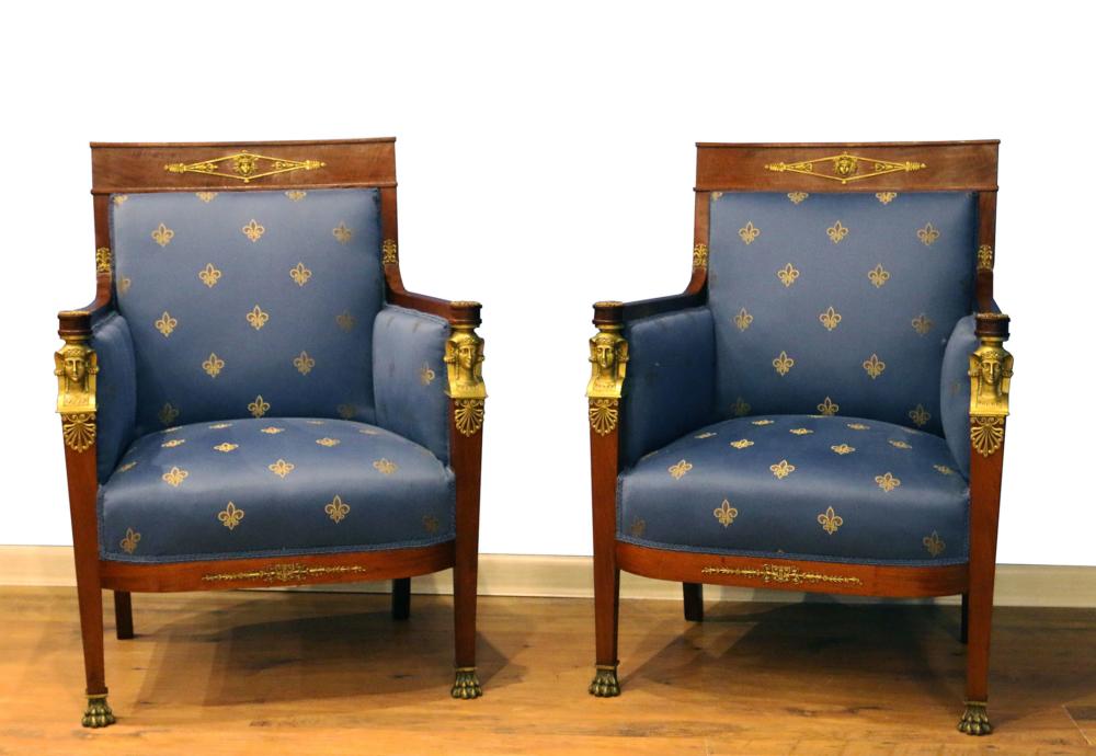 Кресла в стиле ампир с бронзой (пара)
