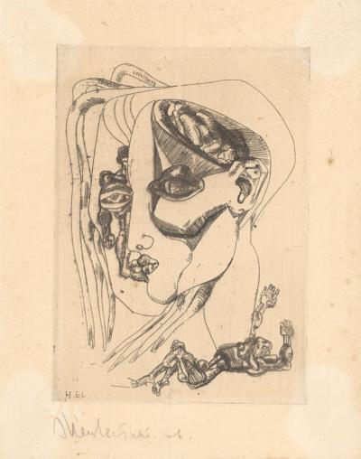Композиция с женским лицом и фигурами