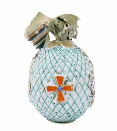 Пасхальное яйцо с шелковым бантом
