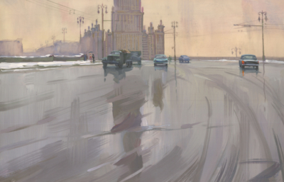 Щербинин Первый снег. Новоарбатский мост