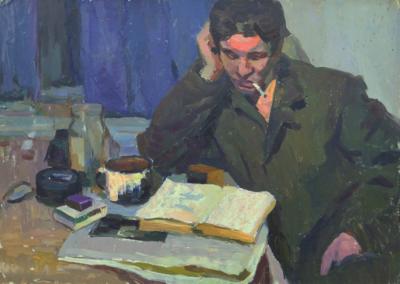Портрет мужчины с книгой и сигаретой