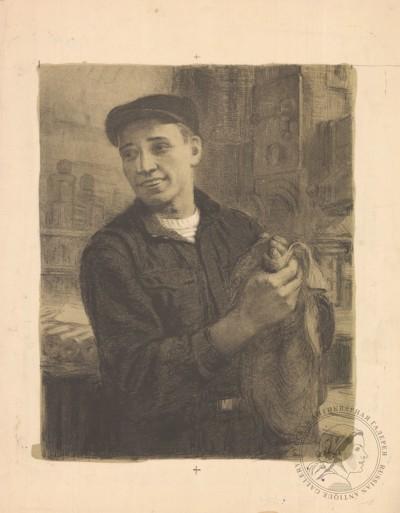 Рабочий литография художника Натапова