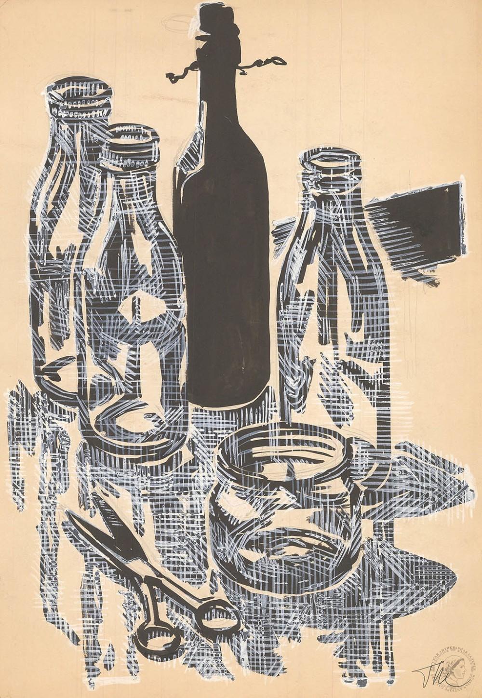 Натюрморт с бутылками и ножницами