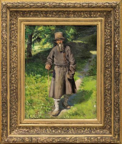 Ярошенко Крестьянин с посохом на лесной дороге