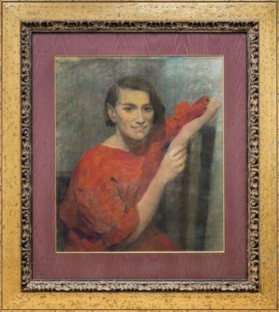 пастель Портрет женщины в красном платье художник Малютин