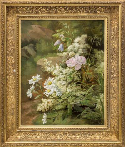 старинный натюрморт Цветы художник Debrus