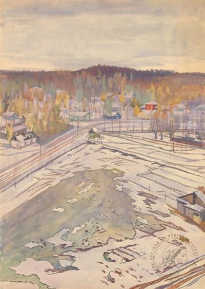 Захаров Акварель Деревня
